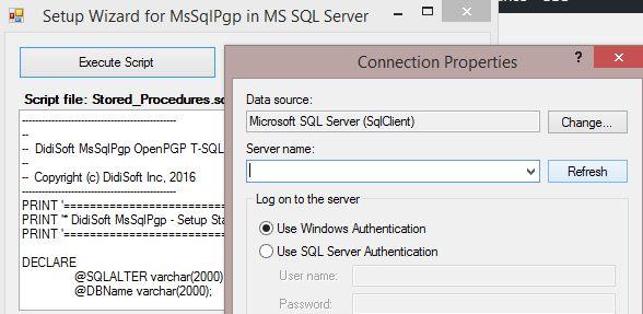 MsSql PGP DB Seup Wizard