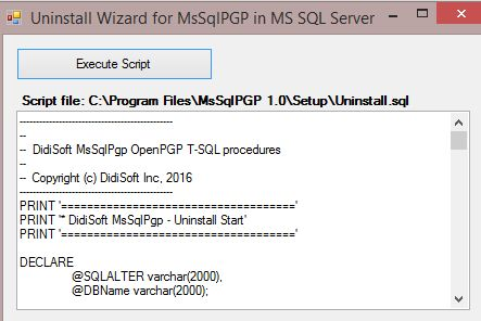 Uninstall Wizard for MsSqlPGP